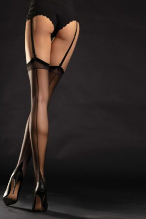 Diva FiORE black seamed stockings RHT