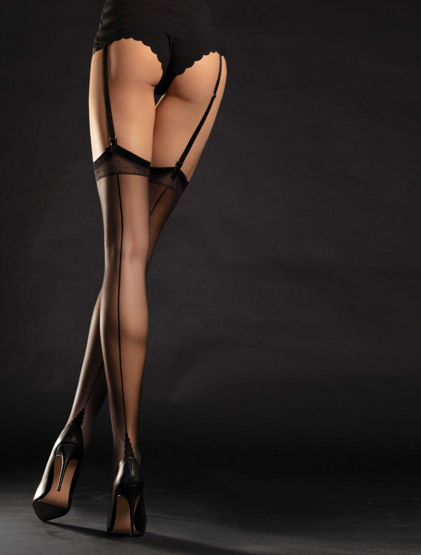 Diva FiORE black seamed stockings RHT