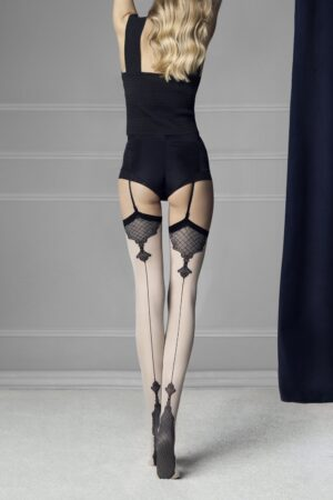 Fiore Vanity Stockings Baroque Heel And Seams Pattern