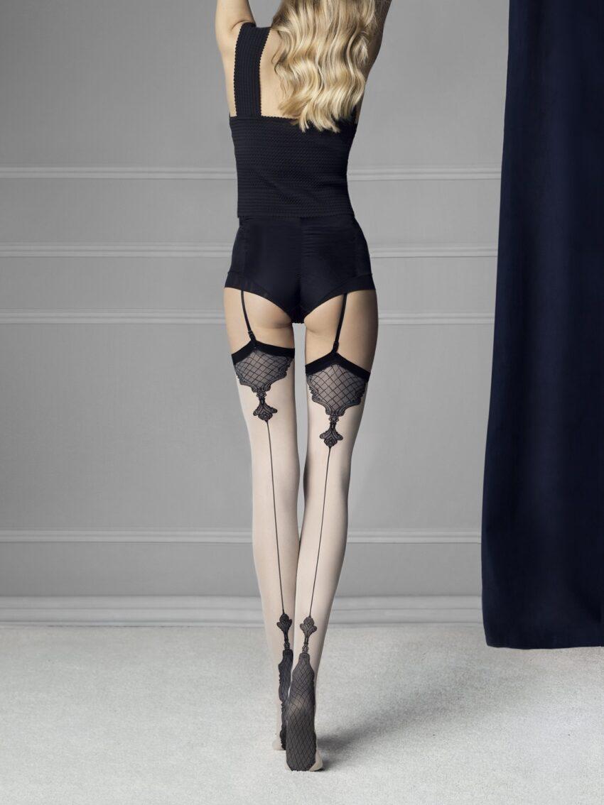 Fiore Vanity Stockings Baroque Heel And Seams Pattern