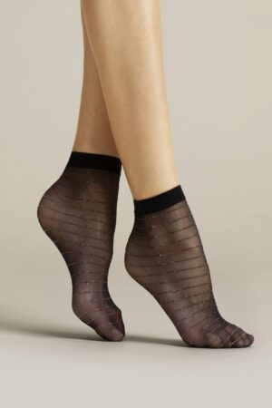 Anello FiORE sheer sparkling stripes socks