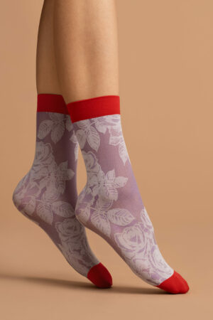 FiORE red rose socks patterned