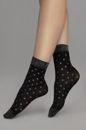 Fiore Gia Socks Lurex Black Silver Dots