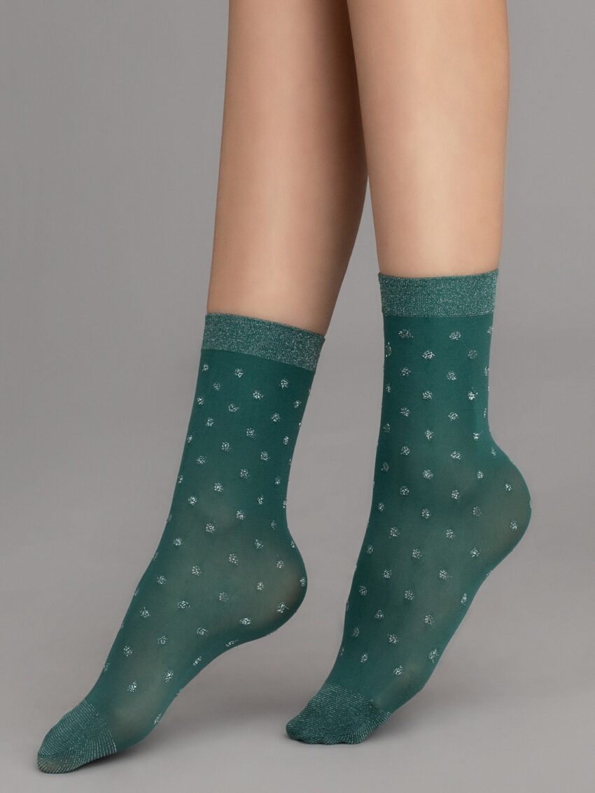 Fiore Gia Socks Lurex Green Silver Dots