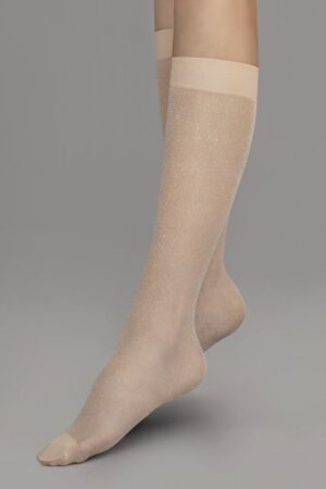 Fiore Kaia Lurex Knee Highs Powder Silver