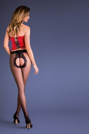 Gabriella Fiera Erotica Open Crotch Red Seams Tights