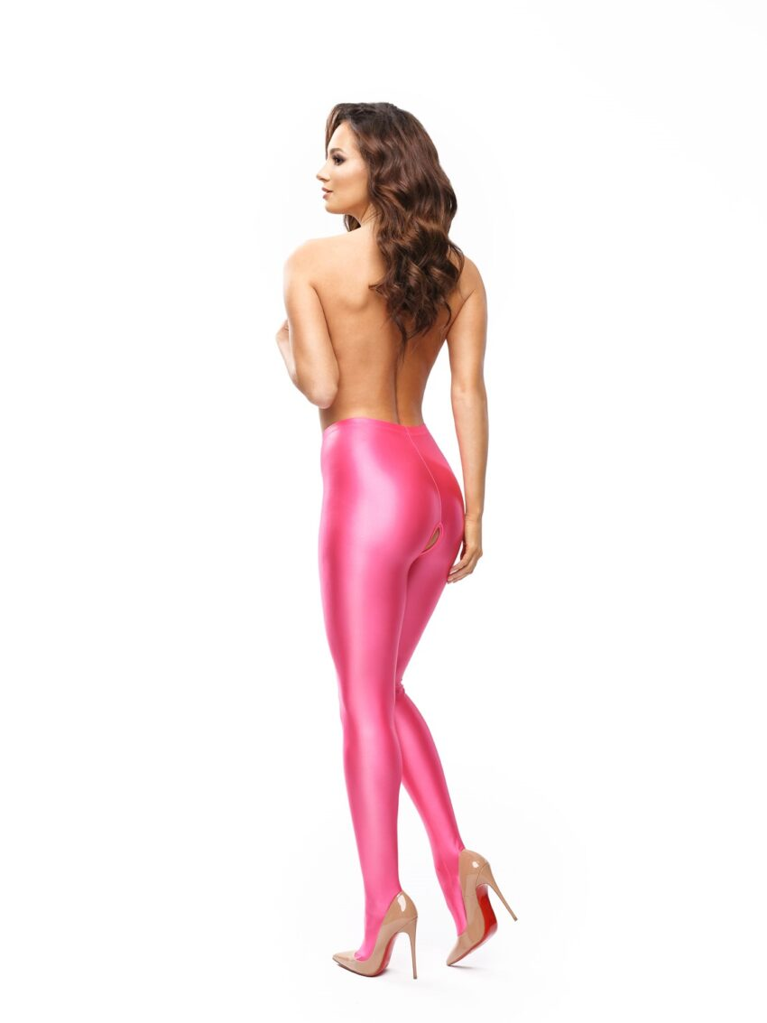 Misso P800 Glossy Pink Open Crotch Opaque Pantyhose