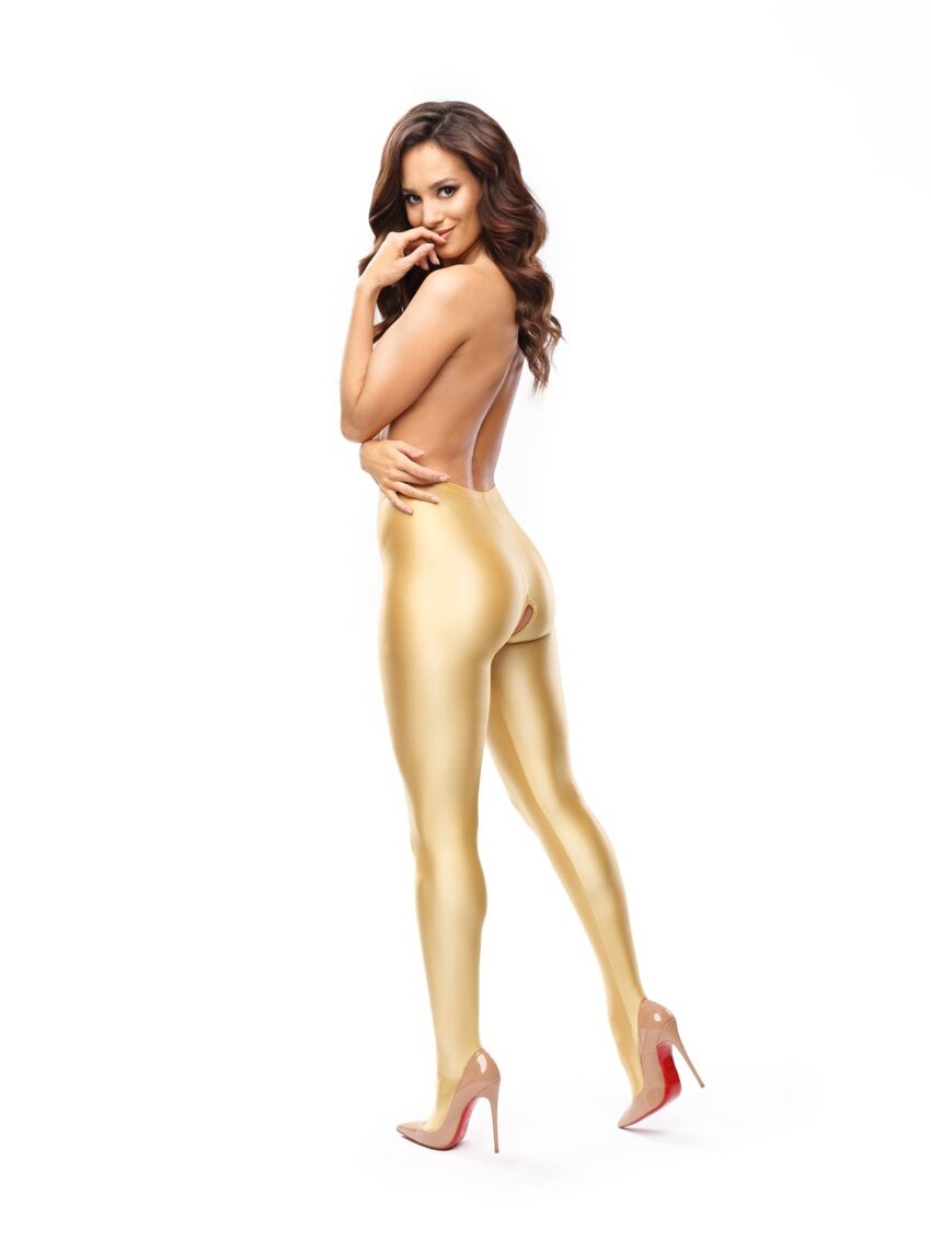Misso P800Gold Glossy Open Crotch opaque Pantyhose